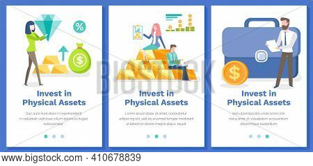 Investing In Physical Assets Concept. Set Of Illustrations With Websites To Attract Investors In Bus