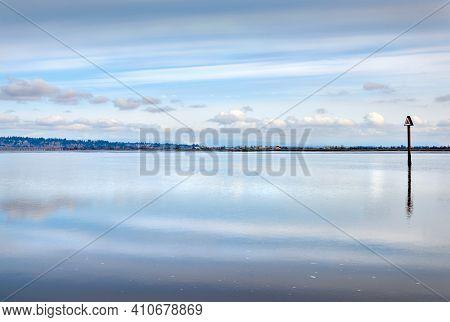 Blackie Spit Nicomekl River. A Beautiful Sky Over The Nicomekl River From Blackie Spit In Crescent B
