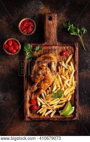 Half Roasted Chicken Piri Piri With French Fries
