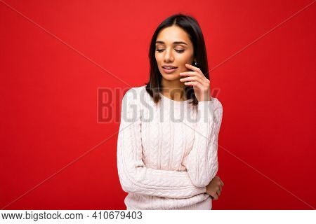 Charming Cute Nice Adorable Tender Thoughtful Young Brunette Woman In Casual Light Knitted Sweater I