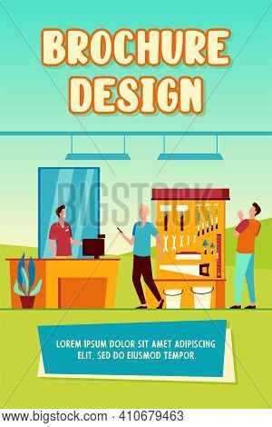 Happy Men Choosing And Buying Hardware Isolated Flat Vector Illustration. Cartoon Characters Looking