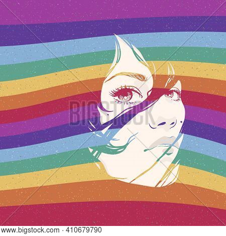 Woman Portrait. Girl Face. Gay Pride. Lgbt Concept. Rainbow Background