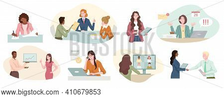 Eight Different Scenes Showing A Successful Businesswoman At Work With Handshake, Yoga Relaxation, I