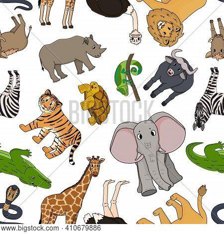 Seamless Pattern Of Vector Cartoon Outline Savannah Animals. Tiger Lion Rhinoceros, Common Warthog,