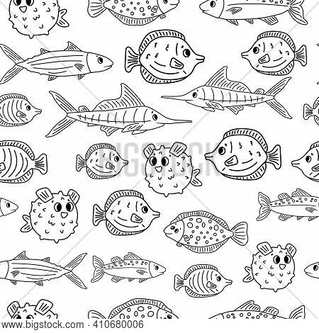 Seamless Animal Doodle Pattern Isolated. Set Of Outline Cartoon Vector Fish, Tang, Flounder, Tuna, O