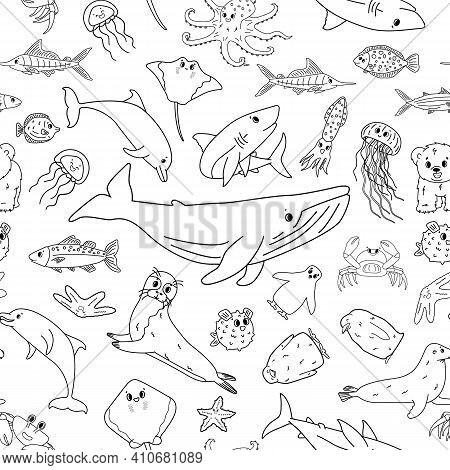 Black White Seamless Vector Pattern Of Cartoon Outline Isolated Sea Ocean Animals. Whale, Dolphin, S