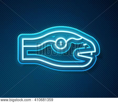 Glowing Neon Line Snake Icon Isolated On Blue Background. Vector