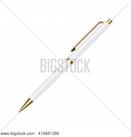 Automatic Spring Ballpoint Pen In White Case With Golden Button. School Or Office Tools Collection.