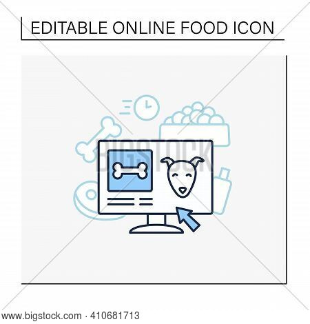 Pets Food Delivery Line Icon. Veterinary Shop. Online Shopping. Vet Products. Fast Delivery. Interne