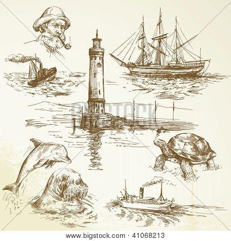 hand drawn nautical elements