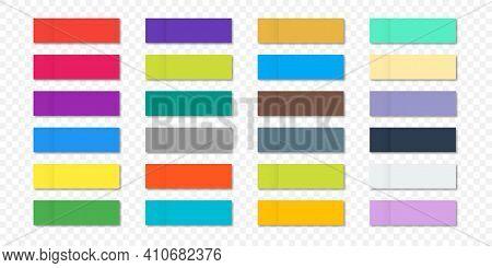 Message Sticky Note Sticky Stickers. A Sticky Note With A Flat Color. Vector Post Paper Sticky Tape