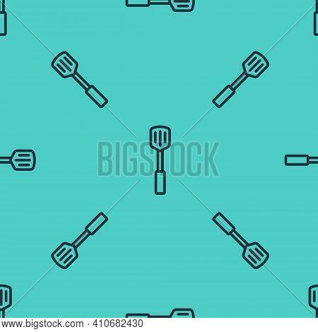 Black Line Barbecue Spatula Icon Isolated Seamless Pattern On Green Background. Kitchen Spatula Icon