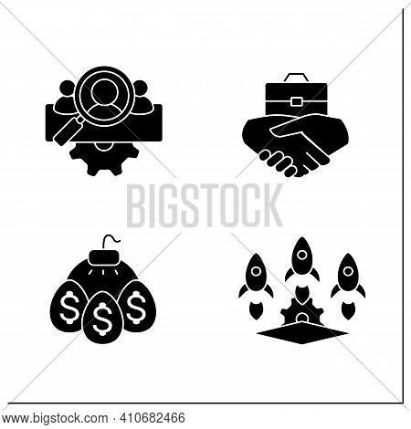 Business Incubator Glyph Icons Set. Startup Company. Marketing Assistance, Tax Declaration. Startup