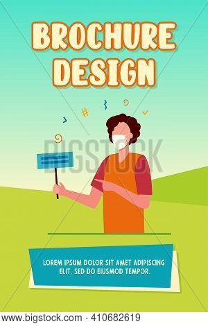 Cartoon Person In Mask Holding Protest Banner. Protection, Pandemic, Disagreement Flat Vector Illust