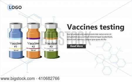 Vaccines Testing Landing Page Template. Pharmaceutical Laboratory Research And Vaccines Development.