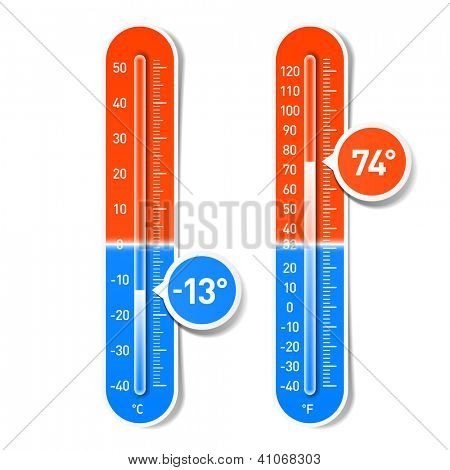 Celsius and Fahrenheit thermometers. Vector.