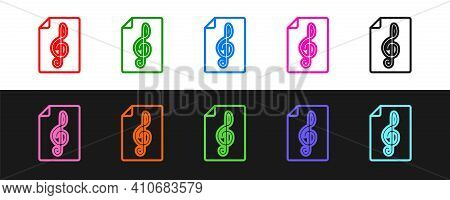 Set Line Treble Clef Icon Isolated On Black And White Background. Vector