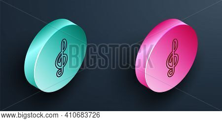 Isometric Line Treble Clef Icon Isolated On Black Background. Turquoise And Pink Circle Button. Vect