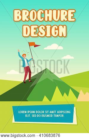 Happy Character Climbing Mountain And Holding Flag. Goal, Peak, Target Flat Vector Illustration. Ach