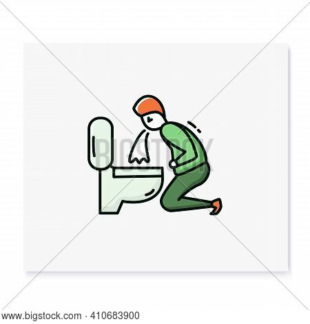 Vomiting Color Icon.character Feeling Nausea.man Puking In Bathroom.hangover. Symptoms Food Poisonin