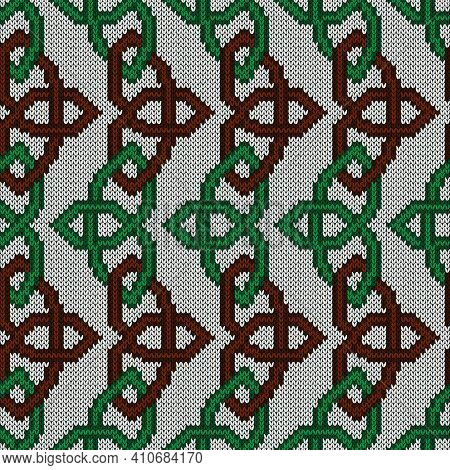 Geometrical Ornate Seamless Knitted Vector Pattern As A Fabric Texture In Green And Brown Colors On
