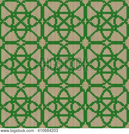 Muted Ornate Seamless Knitted Vector Pattern As A Fabric Texture In Beige And Green Colors