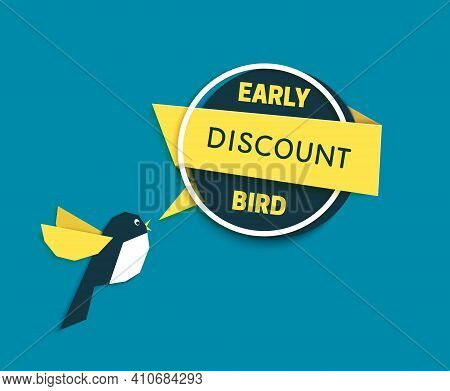 Early Bird Discount Banner In Paper Cut Style. Speech Bubble With Geometric Shapes. Special Discount