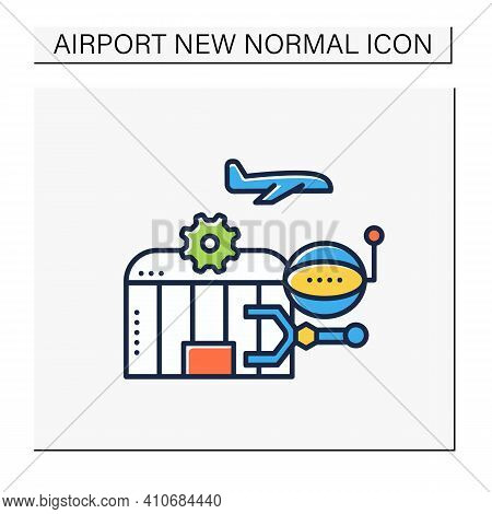 Airport Robotization Color Icon. Security Robot To Patrol Airport. Using Robotics To Make People Wor