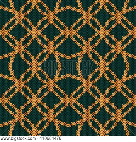 Ornamental Knitting Seamless Vector Pattern In Turquoise And Orange Hues As A Fabric Texture