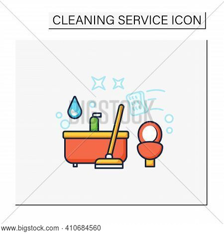 Bathroom Cleaning Color Icon. Home Cleanup. Bath And Toilet Cleanup. Washing, Wiping. Cleaning Servi