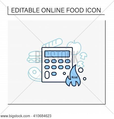 Calorie Calculator Line Icon. Online Food Counter. Healthy Eating. Calorie Count. Serving Size. Weig