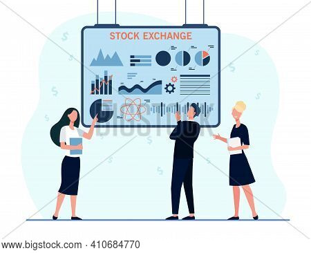 Financial Brokers Analyzing Stock Exchange Graphs. Investors Studying Trading Analytics. Flat Vector