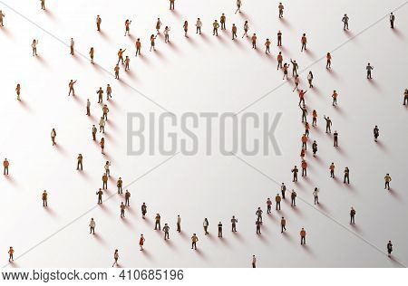 Large Group Of People In The Shape Of A Circle On White Background. People Crowd Concept.