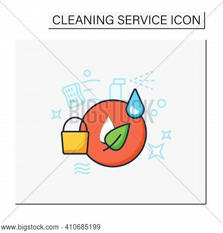 Green Cleaning Color Icon. Ecological Products. Without Chemicals. Zero Waste Products, Environment