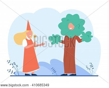 Kids In Costumes Playing Roles At School Performance. Children, Actor, Stage. Flat Vector Illustrati