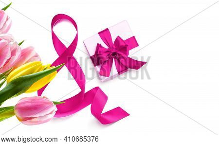 Happy Womens Day. Decorative Pink Bow With Gift Box And Tulips Isolated On White Background. Interna