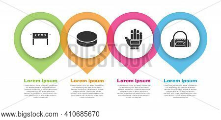 Set Hockey Table, Hockey Puck, Hockey Glove And Sport Bag. Business Infographic Template. Vector