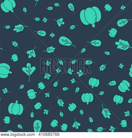 Set Leaf Or Leaves, Pumpkin, Leaf Or Leaves And Leaf Or Leaves On Seamless Pattern. Vector