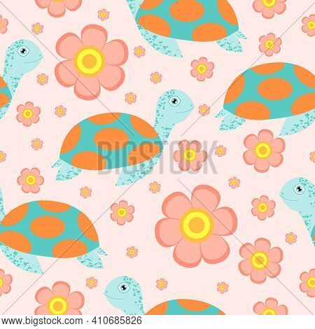 Seamless Pattern. Turtle Or Tortoise. Cute And Funny. Turquoise Green And Orange. Pink Flower. Pink