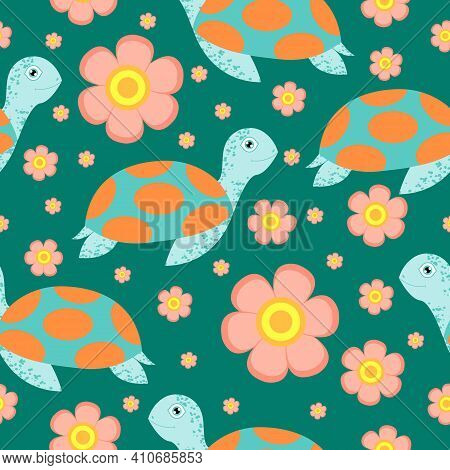 Seamless Pattern. Turtle Or Tortoise. Cute And Funny. Turquoise Green And Orange. Pink Flower. Green