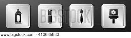 Set Marker Pen, Marker Pen, Paint Brush And Spray Can Nozzle Cap Icon. Silver Square Button. Vector