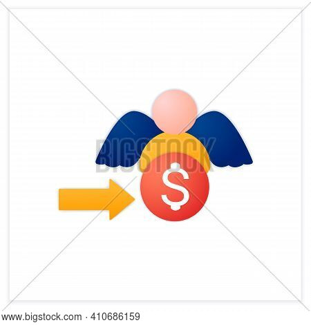 Angel Investors Flat Icon. Investors Who Help Willing To Invest In Promising, Start-up Opportunities