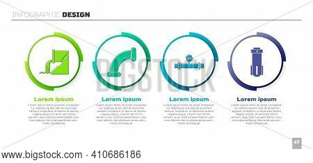 Set Wastewater, Industry Metallic Pipe, Industry Pipe And Manometer And Water Filter. Business Infog
