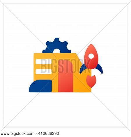 Startup Company Flat Icon. Launch Of New Business Plan. Smart Technology Concept.business Idea Devel