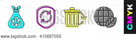 Set Garbage Bag With Recycle, Recycle Symbol Inside Shield, Recycle Bin With Recycle And Earth Globe
