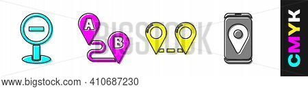 Set Stop Sign, Route Location, Route Location And City Map Navigation Icon. Vector