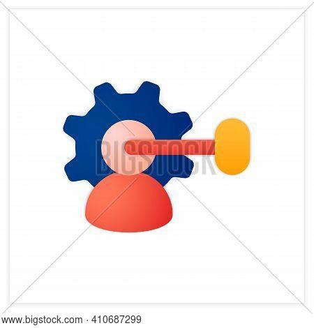 Intellectual Property Management Flat Icon. Maximizing Profitability. Protection Of Intangible Creat