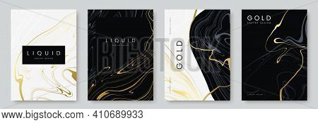Luxury Poster Design. Collection Of Liquid Gold Marble Texture On Black And White Background. Set Of