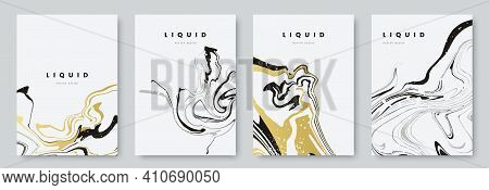 Abstract Poster Design With Curves Lines. Collection Of Gold And Black Liquid Marble Texture On Whit