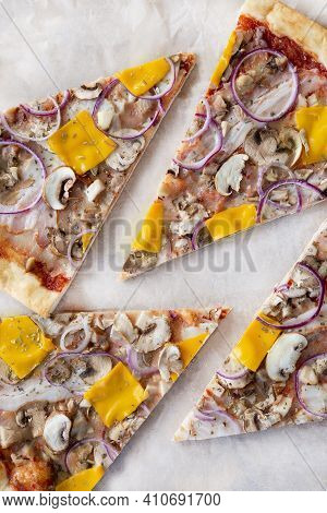 Vertical Photo Slices Of Pizza, Background, Mushroom Pizza With Cheese And Onions
